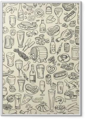 Gerahmtes Poster Skizzenhaft Bier und Snacks