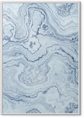Póster com Moldura Textura sem emenda do teste padrão de mármore azul para o fundo / ilustração