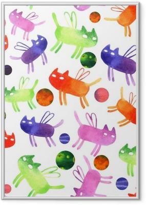Poster i Ram Vattenfärg katt