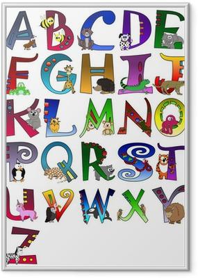 Gerahmtes Poster Tierische Themed Alphabet Poster A - Z Poster