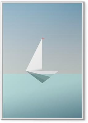 Gerahmtes Poster Yacht Symbol Symbol in modernen Low-Poly-Stil. Sommerurlaub oder Reisen Urlaub Hintergrund. Business-Metapher für Freiheit und Erfolg.
