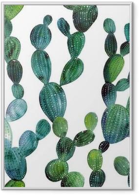 Gerahmtes Poster Kaktus Muster in Aquarell-Stil