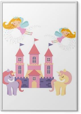 Poster i Ram Söt rosa fantasislott vektor utformning
