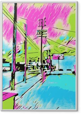 Piirtämällä ja maalaamalla sininen kaupunki vaaleanpunaisella ja vihreällä taivaalla Kehystetty juliste