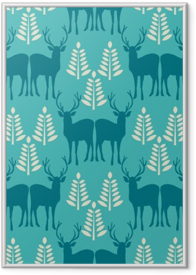 Vector seamless Christmas pattern with deer. Framed Poster