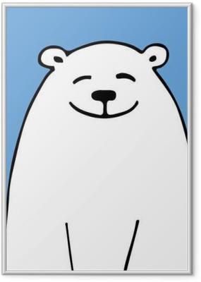Gerahmtes Poster Weißer Bär, Skizze für Ihr Design