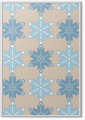 Plakat w ramie Jednolite tło z płatki śniegu. Wydrukować. Powtarzanie tła. Konstrukcja tkaniny, tapety.