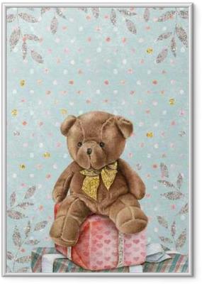 Gerahmtes Poster Netter Aquarell-Teddybär mit Geschenk-Boxen