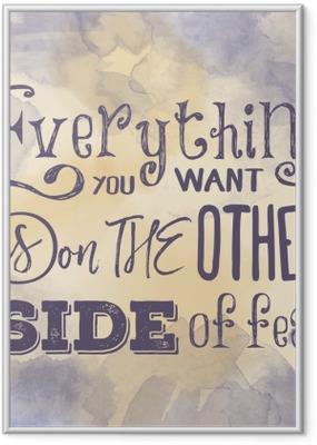 """Poster in Cornice Citazione motivazionale sulla priorità bassa dell'acquerello. """"tutto ciò che vuoi"""