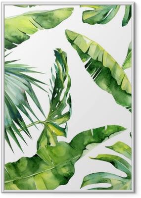 Poster in Cornice Illustrazione di acquerello senza soluzione di continuità di foglie tropicali, dense giungla. Il motivo con il motivo tropicale di estate può essere utilizzato come struttura di fondo, carta da imballaggio, tessile, disegno della carta da parati.