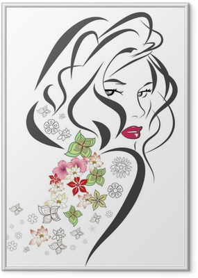 Poster en cadre Silhouette de femme avec des fleurs