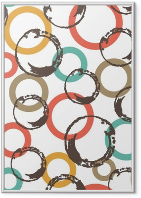 Gerahmtes Poster Nahtloses Vektormuster mit bunten Kreisen.