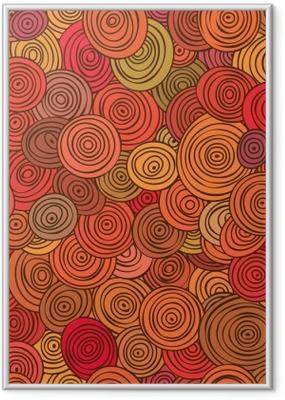 Gerahmtes Poster Nahtloses abstraktes rotes Muster von gestreiften Kreisen in den Kreisen.
