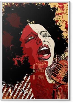 Gerahmtes Poster Jazz-Sängerin auf Grunge-Hintergrund