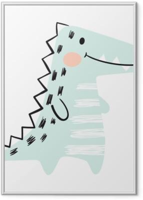 Poster en cadre Crocodile bébé mignon ensemble d'impression. dinosaure. cool animal africain