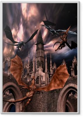 Ingelijste Poster Fighting dragons