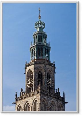Ingelijste Poster Cityscape van Groningen met de Martinitoren
