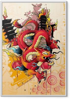 Gerahmtes Poster Japanese dragon vector