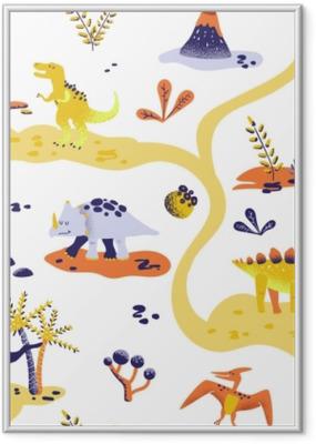 Poster en cadre Motif de dinosaures mignon dessin animé sans soudure. Vector texture d'arrière-plan dino bébé. toile de fond pour textile, tissu, papier peint - Animaux