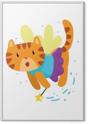 Plakát v rámu Roztomilý okřídlený červená kočka s kouzelnou hůlkou, fantasy pohádka zvíře kreslený znak vektorové ilustrace