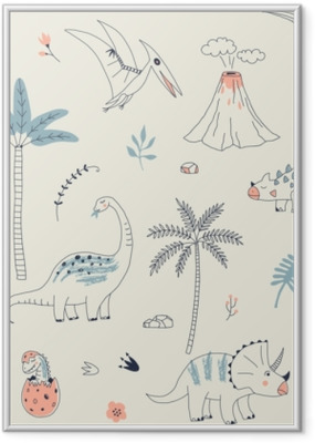 Poster en cadre Modèle sans couture enfantin avec dino dessiné à la main dans un style scandinave. fond de vecteur créatif semblable à un enfant pour le tissu, le textile, l'habillement et plus - Animaux