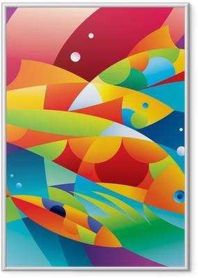 243babcf Innrammet plakat Abstrakte fargerike fisk nær korallrevet