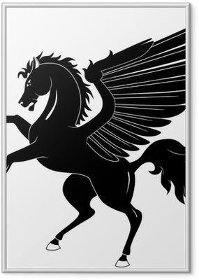 Ingelijste Poster Black Pegasus op een witte achtergrond