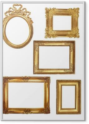Poster i Ram 5 kadrer anciens en bois doré sur fond blanc