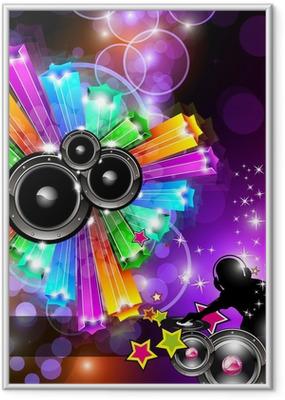 Ingelijste Poster Music Disco Flyer for Dancing Events