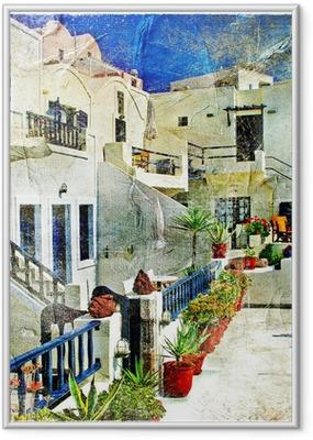 Ingelijste Poster Straten van Santorini - illustraties in stijl schilderen