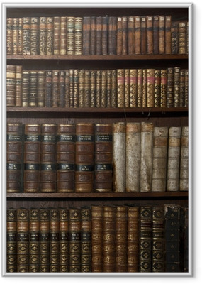 historic old books in old shelf library Framed Poster