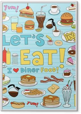 Gerahmtes Poster Diner Essen Notebook Doodles Vector Icon Set
