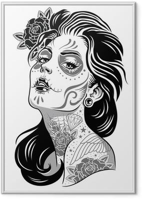 Black and White Day of Dead Girl Vector Illustration Framed Poster
