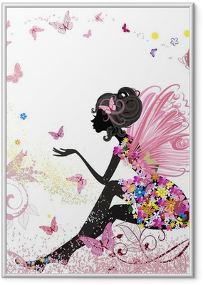 Flower Fairy in the environment of butterflies Framed Poster