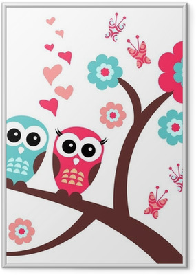 Gerahmtes Poster Hübsche romantische Karte mit Eulen