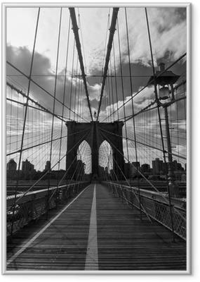 Plakat w ramie Pont de Brooklyn Noir et Blanc - Nowy Jork