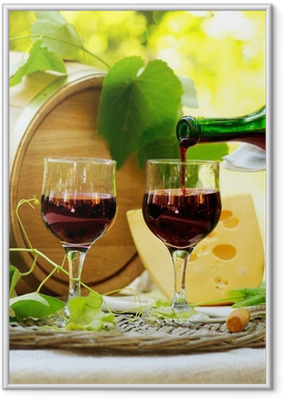 Red Wine and Cheese. Romantic Lunch Outdoor. Framed Poster