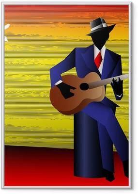 Gerahmtes Poster Blues Guitarist am Scheideweg, Vektor Hintergrund für eine Conce