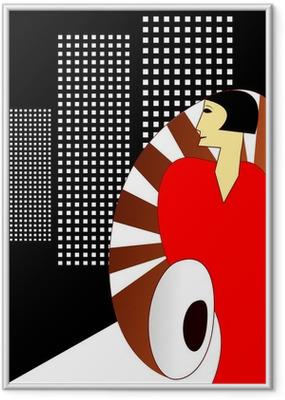 Gerahmtes Poster Art-Deco-Art-Plakat, mit einer eleganten Frau 1930