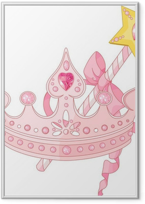 Princess crown and magic wand Framed Poster