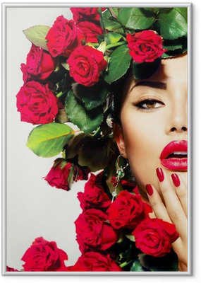 Beauty Fashion Model Girl Portrait with Red Roses Hairstyle Framed Poster