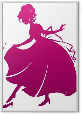 Poster en cadre Silhouette de Cendrillon portant sa pantoufle de verre - Sticker mural