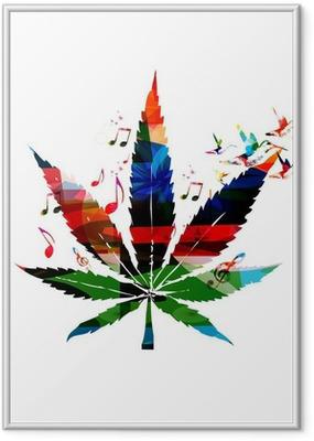 Farverige vektor cannabis blade med kolibrier baggrund Indrammet plakat
