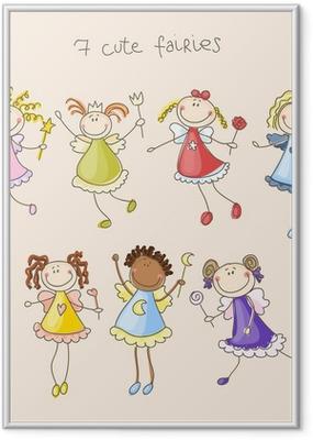 Cute fairies illustration Indrammet plakat