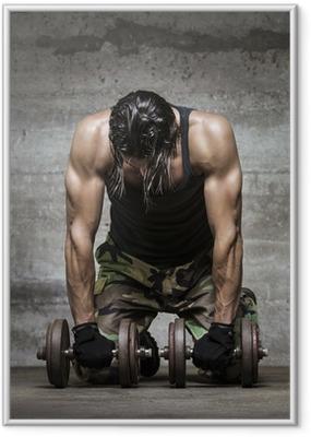 Poster i Ram Trött muskel idrottsman
