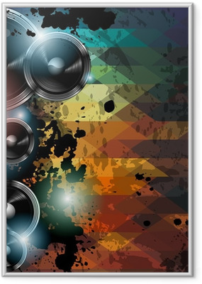Disco club flyer template. Abstract background to use for music Framed Poster