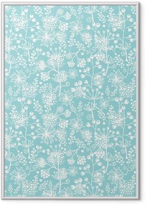 Poster in Cornice Vector blu e pizzo bianco piante da giardino seamless pattern