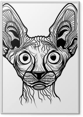 Vector illustration of cat head Framed Poster