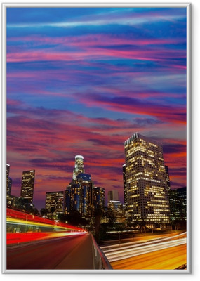 Gerahmtes Poster Downtown LA Los Angeles Nacht sunset Skyline Kalifornien
