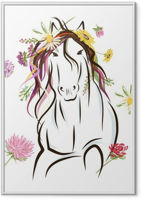 Horse sketch with floral decoration for your design. Symbol of Framed Poster